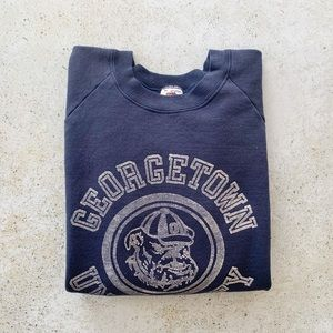 💙 VINTAGE Georgetown Pullover Sweatshirt 80s 90s